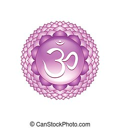 Sahasrara chakra symbol isolated on white vector - Sahasrara...