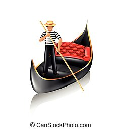 Venice gondola isolated vector - Venice gondola and...