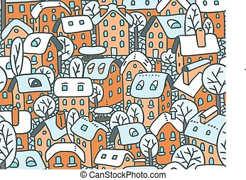 Seamless pattern with houses and courtyards - Seamless...