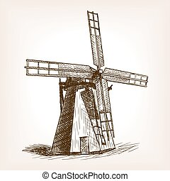 Windmill hand drawn sketch vector - Windmill sketch style...