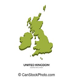 Isometric map of United Kingdom detailed vector...