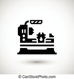 Lathe machine icon isolated on grey Vector illustration