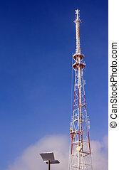 big metallic tv radio tower