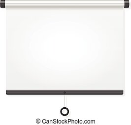 Projection screen on a white background.