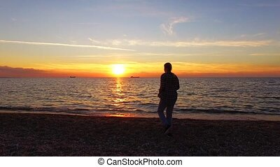 Photographer Taking Picture Of Magic Sunset On The Beach -...