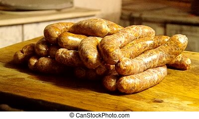 Homemade sausage - The traditional production of homemade...