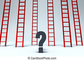 Which Way Out? - Several red ladders reaching up past the...