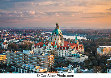 City Hall of Hannover, Germany - Aerial view of the City...