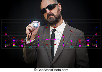 Handsome business man, bald and beard, with sunglasses and...