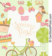 Spring background, vector illustration.
