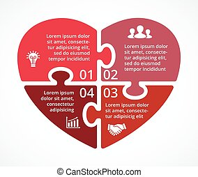Vector heart circle puzzle infographic. Template for love...