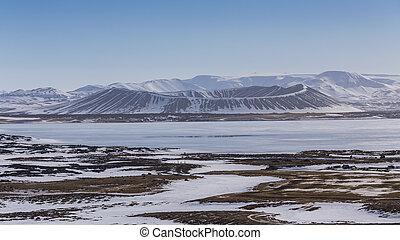 Myvatn natural Winter landscape volcano, Iceland