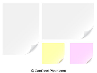 Paper background - White, yellow and pink empty paper...