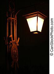 old electric street lamp, lighting in night