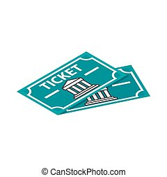 Two museum tickets icon, isometric 3d style - Two museum...