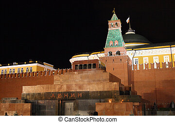 Lenin mausoleum on red square, Moscow, Russia, night