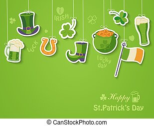 Happy St Patricks day greeting card. - Poster, banner or...
