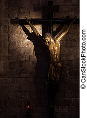 Crucifix - Old medieval crucifix in Italian church - made of...