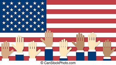 Vote Raised hands on the background of the USA flag Vector