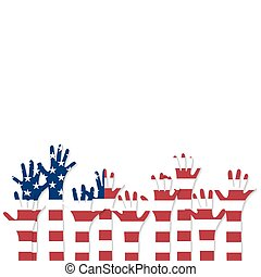 Vote Raised hands USA flag - Vote Hands in the colors of the...