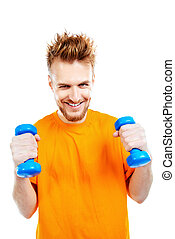 stamina - Laughing young man with dumbbells. Sports, healthy...