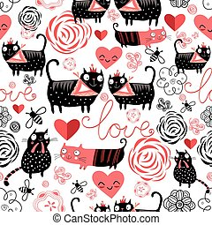 Graphic pattern of funny cats lovers - Beautiful seamless...