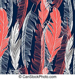 graphic pattern of feathers - Beautiful seamless graphic...