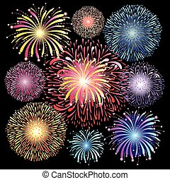 set of graphic fireworks - graphic set of colorful fireworks...