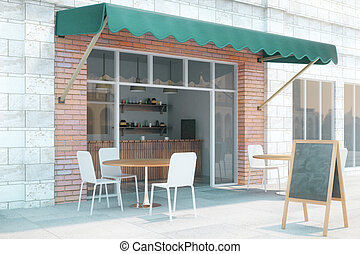 Cafe exterior from the side - Cafe exterior design with...
