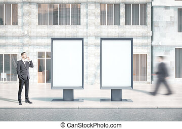 Two blank banners with people - Two blank ad banners with...