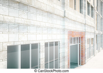 Building exterior design - White brick building exterior...