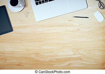 Topview of hazel desktop - Top view of hazel wooden desktop...