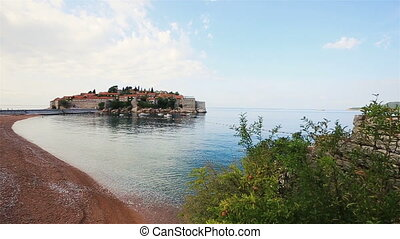 Beautiful view of Sveti Stefan island in Montenegro, Budva
