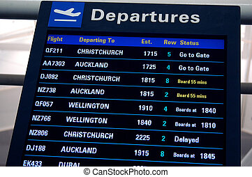 departure times - board showing departure times at airport...