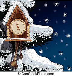 Old wooden clock with fir tree and snow