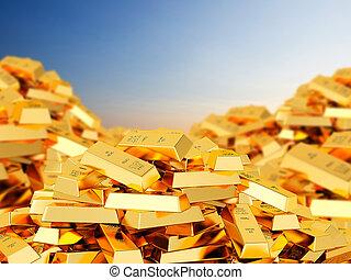Heap of gold bars