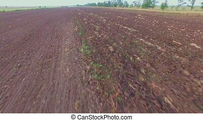AERIAL VIEW. Plough Agricultural Field Ready For Sowing -...
