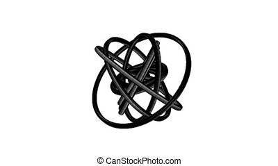Black Wire Frame Circle Abstract On White Background.