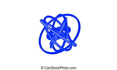 Blue Wire Frame Circle Abstract On White Background.
