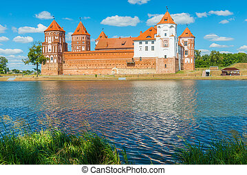 beautiful castle Mir and lake Mir, Belarus - Mir Castle -...
