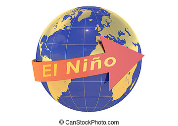 El nino concept isolated on white background