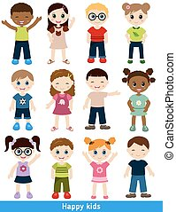 Set of different kids Isolated on white background