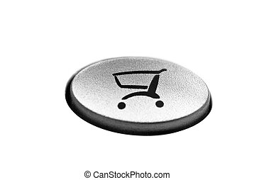 Online shopping button close-up shot, isolated