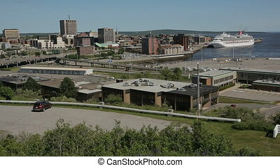 Saint John City Skyline Pan - Horizontal wide angle pan of...
