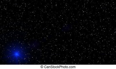 motion of blue glowing star on a stellar backgrounds