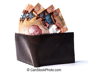 Canadian bills on wallet