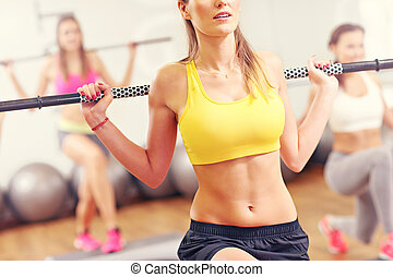 Group of women working out in gym - A picture of group women...