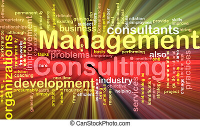 Management consulting word cloud glowing - Word cloud...