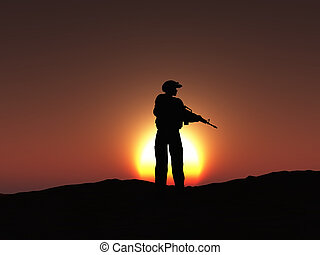 3D soldier at sunset