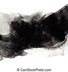 black watercolour stain - Abstract background with black...